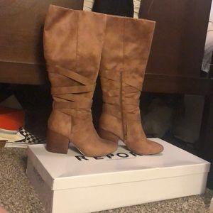 Brown high heel boots